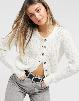 Brave Soul osso cable knit cardigan in oatmeal