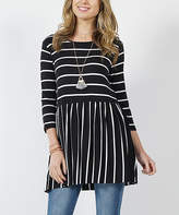 Lydiane Women's Blouses BLACK/IVORY - Black & Ivory Stripe Three-Quarter Sleeve Ruffle-Hem Top - Women