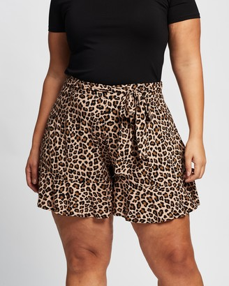 Atmos & Here Atmos&Here Curvy - Women's Brown High-Waisted - Alexa Ruffle Shorts - Size 18 at The Iconic