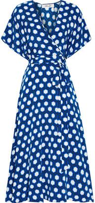 Diane von Furstenberg Kelsey Printed Silk Crepe De Chine Midi Wrap Dress