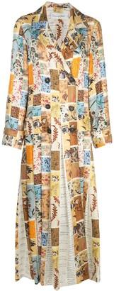 Oscar de la Renta Patchwork Floral Duster Coat