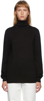 Maison Margiela Black Leather Elbow Patch Turtleneck