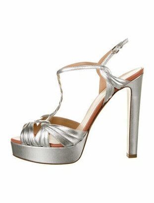 Francesco Russo Patent Leather Braided Accents T-Strap Sandals w/ Tags Silver