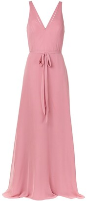 Marchesa Notte Sleeveless Tied Waist Dress
