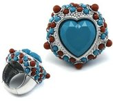 Body Candy Brown and Blue Color Heart Stretch Ring