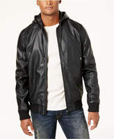 Lrg Men's Faux-Leather Hooded Bomber Jacket