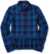 Ralph Lauren Plaid Cotton Peplum Top