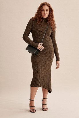 Country Road Long Sleeve Asymmetric Knit Dress