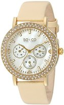 SO&CO New York Women's 5216L.4 Madison Quartz Crystal Accent Dial Day and Date GMT Champagne Genuine Leather Strap Watch
