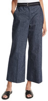 Elizabeth and James Hudson Cropped Wide-Leg Trousers, Indigo