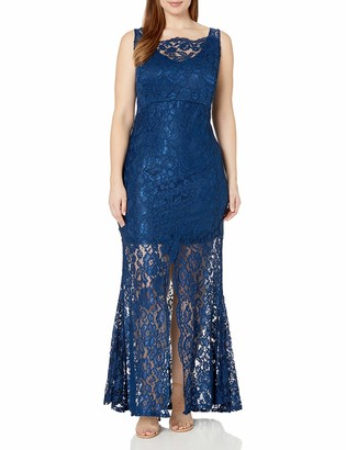 Marina Women's Plus Size Corded Lace Gown with Knee Length Lining