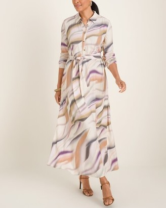 Chico's Printed Half-Placket Maxi Dress