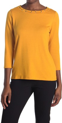 Love by Design Debbie Laced Crew Neck 3/4 Sleeve Top