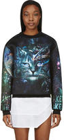 Juun.J SSENSE Exclusive Black and Teal Cosmic Cat Sweatshirt