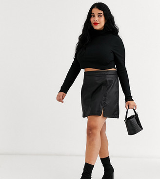 ASOS DESIGN Curve denim coated mini skirt in black