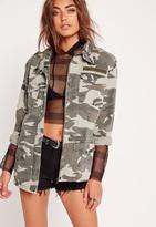 Missguided Camo Utility Jacket Khaki