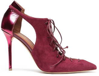 Malone Souliers Montana Mirrored Cutout Leather-trimmed Suede Pumps