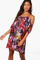 boohoo Natasha Tropical Leaf Cold Shoulder Beach Dress red