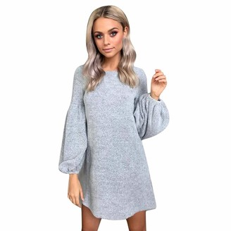Beetlenew Womens Dress Women Dresses Fashion Lantern Sleeve Knitted Dresses Loose Fit T Shirt Dress Club Party Mini Dress Casual Elegant Straight Dresses for Ladies Blouse Jumper Pullover Sweater Tunic Tops Gray