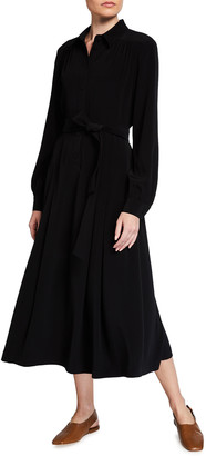 Co Button-Front Belted A-Line Midi Dress