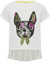 M&Co Sequin french bulldog tulle hem top