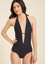 High Dive by ModCloth Seaside Splendor One-Piece Swimsuit in Noir in XL