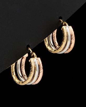 Italian Gold Tri-Color Diamond Cut & Polished Triple Hoops