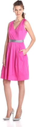 Nine West Women's Sleeveless V Neck Color Blocked Waist Band Dress