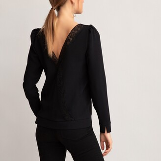 La Redoute Collections Crew-Neck Long-Sleeved Blouse with Crossover Back