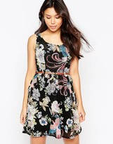 Yumi Belted Floral & Bird Print Dress