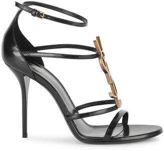 Saint Laurent Cassandra 100 black leather sandals