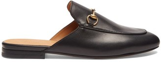 Gucci Princetown Leather Backless Loafers - Womens - Black