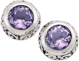 Samuel B. Sterling Silver Round Bezel Set Amethyst Stud Earrings