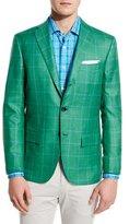 Kiton Windowpane Cashmere-Silk Three-Button Sport Coat, Green
