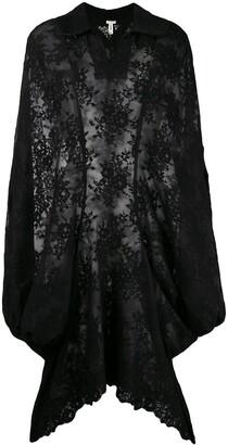 Comme Des Garçons Pre Owned Lace Appique Sheer Cloak
