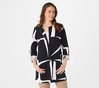 Dennis Basso Printed Luxe Crepe Snap-Front Topper