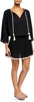 Ramy Brook Katana 3/4-Sleeve Fringe Coverup Dress