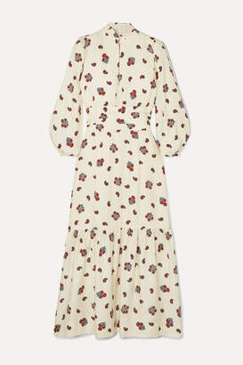 Rebecca De Ravenel Bailey Printed Silk And Wool-blend Twill Midi Dress - White