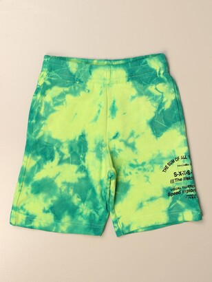 Diesel Jogging Shorts In Tie Dye Cotton