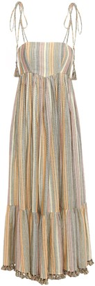 Zimmermann Tasseled Metallic Striped Cotton-blend Midi Dress