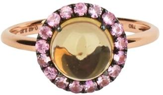 Rosa De La Cruz Round Cabochon Quartz And Sapphire Ring