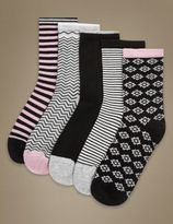 Marks and Spencer 5 Pair Pack Supersoft Socks with Silver Technology