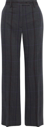 Acne Studios Patsyne Checked Herringbone Wool And Cotton-blend Straight-leg Pants