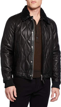 Tom Ford Men's Quilted Leather Jacket w/ Shearling Collar