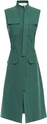 Cédric Charlier Buckle-detailed Cotton-poplin Dress