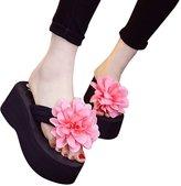 WeiYin Womens Plumeria Flower High Platform Wedge Flip Flop Thong Sandals US 7.5