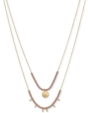 """Lucky Brand Gold-Tone Beaded Double-Row Necklace, 19"""" + 2"""" extender"""
