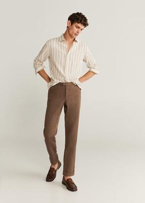 MANGO Slim-fit cotton linen-blend shirt