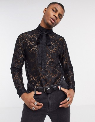 ASOS DESIGN regular fit lace shirt with tie neck in black
