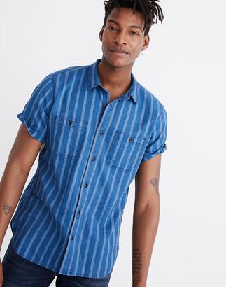 Madewell Short-Sleeve Button-Down Workshirt in Atlantic Indigo Stripe